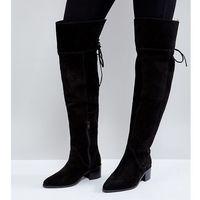 Asos kobra wide fit suede over the knee boots - black, Asos design