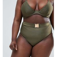 curve high waist bikini bottom with belt in khaki - green marki Wolf & whistle