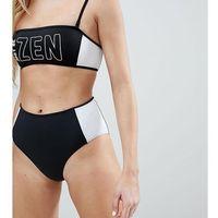 colour block high waist bikini bottoms - black marki Monki