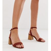 wooden low block heeled sandal in rust - red, New look