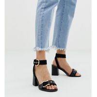 River island two part heeled sandals with gold detail in black - black