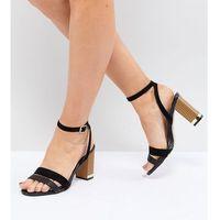 wide fit strappy block heel sandals - black, River island
