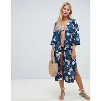 Seafolly moonflower kimono in blue and pink floral - multi