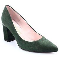 1668 zielone - czółenka na słupku - zielony marki Bravo moda