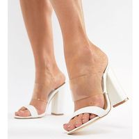 Truffle collection block heel mule sandals - white