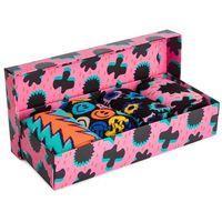 Zestaw 4 par wysokich skarpet damskich - xfst09-0100 czarny kolorowy różowy marki Happy socks