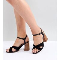 River island wide fit cross front heeled sandals - black