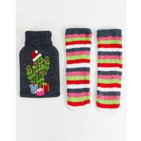christmas cactus hot water bottle and socks pack - multi, Asos design