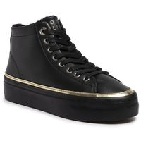 Sneakersy - midcut cosy leather sneaker fw0fw04536 black bds, Tommy hilfiger