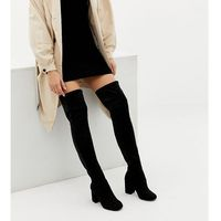 Asos design wide fit extra wide leg kadi heeled over the knee boots - black