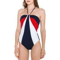 Tommy hilfiger kostium kąpielowy jednoczęściowy niebieski czerwony biały xs