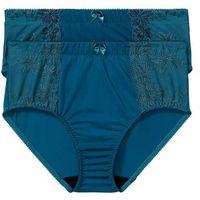 Figi wyszczuplające (2 pary) bonprix niebieskozielony - ciemnoniebieski + ciemnoniebieski, figi