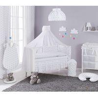 dwustronna rozbieralna pościel 12-el gwiazdki szare na bieli / pasy szare do łóżeczka 60x120cm - moskitiera marki Mamo-tato