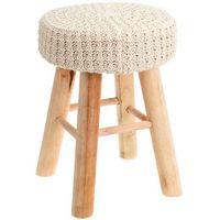 Taboret z miękkim siedziskiem, stołek - kolor kremowy (8711295459917)