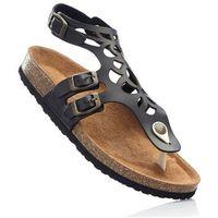 Wygodne sandały skórzane bonprix czarny, kolor czarny