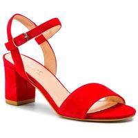 Sandały - 38-5039-180-1g czerwony welur, Eksbut, 36-39