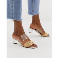 ASOS DESIGN Hamlet clear ball block heeled sandals in natural/clear - Beige