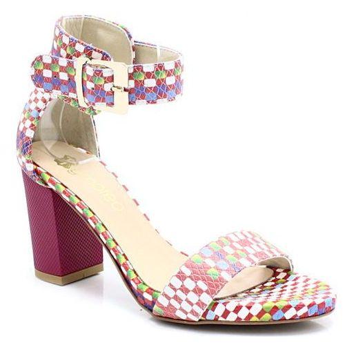 TYMOTEO 2661/2 SZACHOWNICA - Wygodne sandały - Multikolor ||Różowy