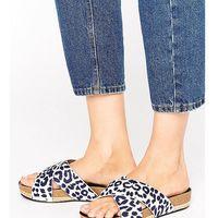 leopard print cross strap slide flat sandals - multi, The march