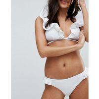 Lost ink woven frill wrap bikini top - white