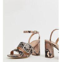 wide fit buckle detail sandal in pink snake - pink marki New look