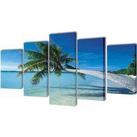 vidaXL Zestaw obrazów Canvas 100 x 50 cm Plaża i Palmy