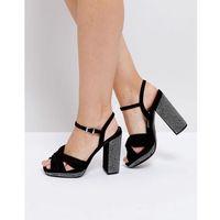 Truffle collection soft knot front pinstud platform sandals - black