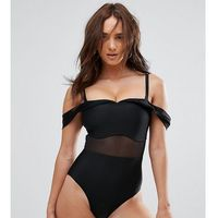 Wolf & Whistle Tailored Off The Shoulder Swimsuit With Mesh Inserts DD - G Cup - Black, kolor czarny