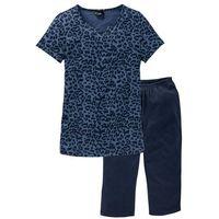 Piżama ze spodniami 3/4 bonprix niebieski indygo z nadrukiem, w 2 rozmiarach