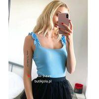 Top z zdobionymi ramiączkami - Błękit, kolor niebieski