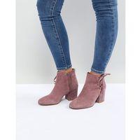Hudson London Else Pink Suede Ankle Boots - Pink, kolor różowy