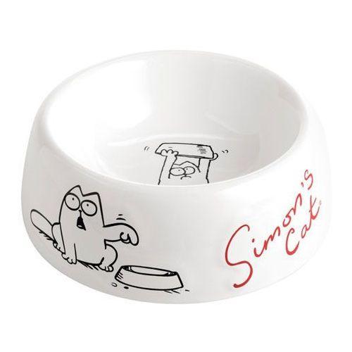 Biała ceramiczna miska dla kotów i psów marki Simon's cat