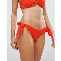 Lost ink pleated textured tie side bikini bottom - orange
