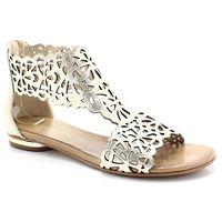 TYMOTEO 2699 ZŁOTE - Płaskie sandały ażurowe - Złoty, kolor żółty