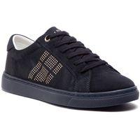 Sneakersy TOMMY HILFIGER - Sparkle Satin Essential Sneaker FW0FW03694 Midnight 403, kolor niebieski