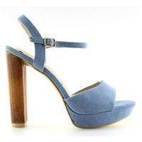 Jeansowe sandałki na słupku niebieskie 9833, 1 rozmiar