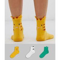 Asos design 3 pack animal face ankle socks - multi