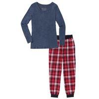 Piżama ze spodniami flanelowymi bonprix ciemnoniebieski melanż z nadrukiem