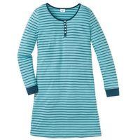 Koszula nocna, bawełna organiczna niebieskozielony - zielony w paski marki Bonprix