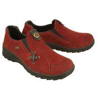 Rieker l7171-35 tex red, półbuty damskie - bordowy