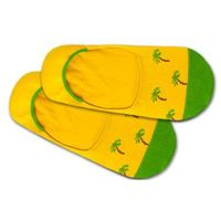 DillySocks Skarpetki stopki 'Hidden Palm Beach' żółty / zielony