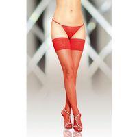 Stockings 5537 - red pończochy kabaretki do paska ze szwem, kolor czerwony