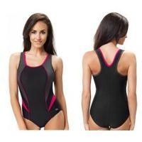 GWINNER Strój kąpielowy damski jednoczęściowy (czarny/grafit/fuksja) (GW10122/1), kolor różowy