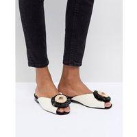 River Island Peep Toe Embellished Sliders - Cream, kolor beżowy