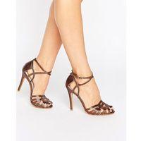 True decadence bronze strap heeled sandals - copper