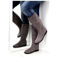 Buty obuwie damskie Kalosze damskie oficerki szare d62p grey