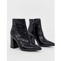Public Desire Hollie black mock croc heeled ankle boots - Black