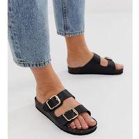 London Rebel wide fit Double buckle flat sandals - Black
