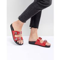 Monki Western Strap Slider Sandal - Red, kolor czerwony