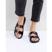 Monki Western Strap Slider Sandal - Black, kolor czarny